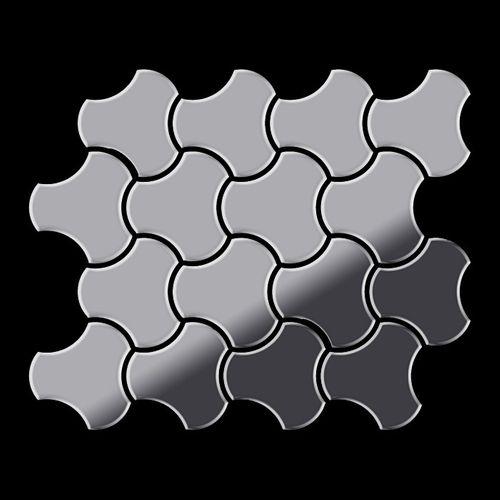 Mosaik Fliese massiv Metall Edelstahl marine hochglänzend in grau 1,6mm stark ALLOY Ubiquity-S-S-MM Designed by Karim Rashid 0,75 m2 – Bild 3