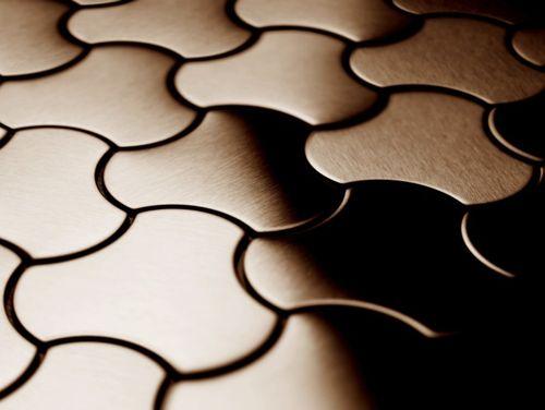 Mosaik Fliese massiv Metall Titan gebürstet in kupfer 1,6mm stark ALLOY Ubiquity-Ti-AB Designed by Karim Rashid 0,75 m2 – Bild 4