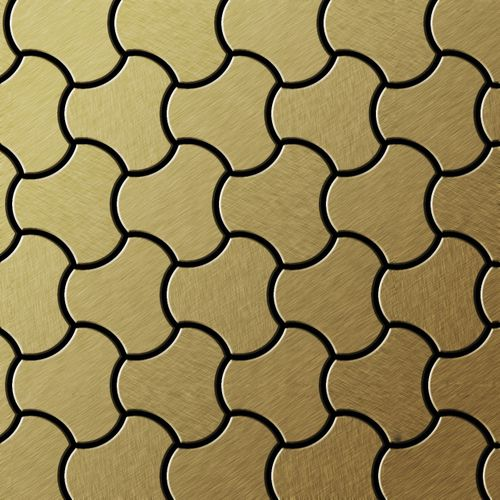 Mosaik Fliese massiv Metall Titan gebürstet in gold 1,6mm stark ALLOY Ubiquity-Ti-GB Designed by Karim Rashid 0,75 m2 – Bild 1