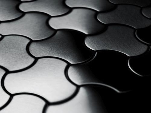 Mosaik Fliese massiv Metall Titan gebürstet in dunkelgrau 1,6mm stark ALLOY Ubiquity-Ti-SB Designed by Karim Rashid 0,75 m2 – Bild 4