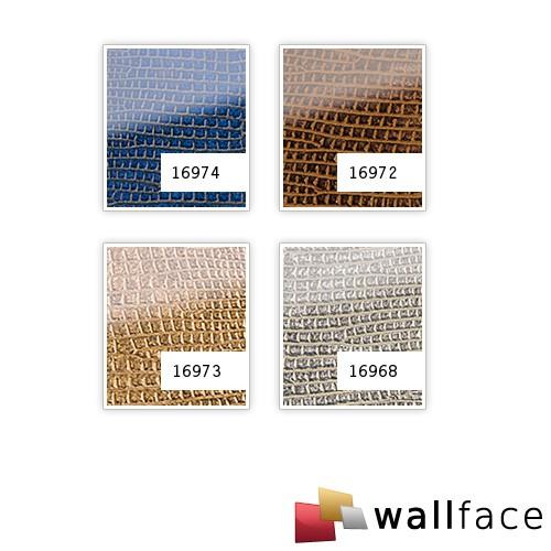 Revestimiento mural Vidrio WallFace 16968 LEGUAN Panel autoadhesivo plateado gris 2,60 m2 – Imagen 2