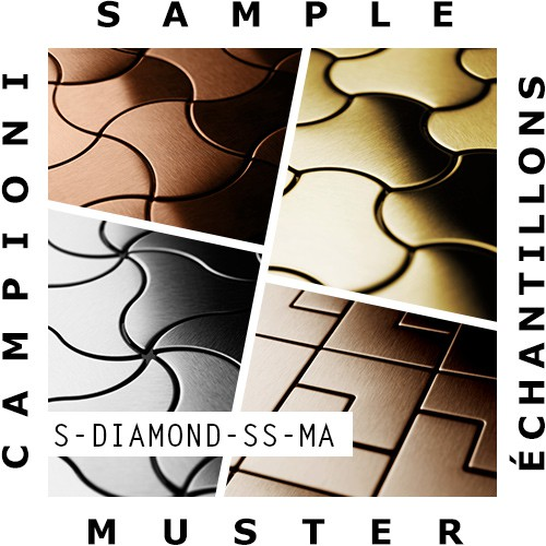 Mosaïque ÉCHANTILLON S-Diamond-S-S-MA | Collection Diamond acier inoxydable matt