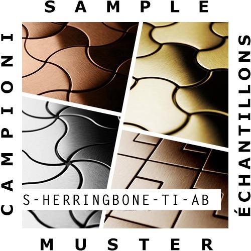 Mosaik MUSTER S-Herringbone-Ti-AB | Kollektion Herringbone Titan Amber gebürstet – Bild 2