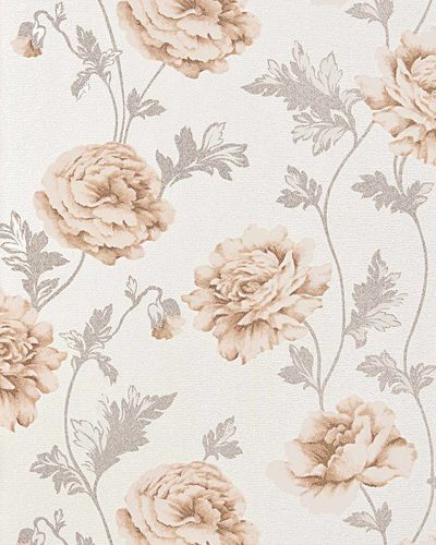 Romantic wall covering flower floral vinyl wallpaper EDEM 086-23 roses blossoms textured beige light brown – Bild 1