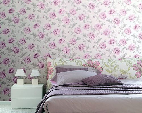Romantic wall covering flower floral vinyl wallpaper EDEM 086-25 roses blossoms textured light beige light green – Bild 5