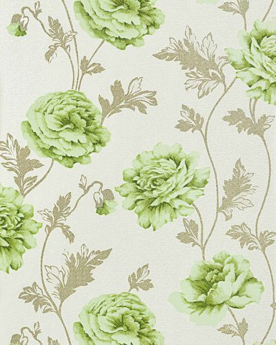 Romantic wall covering flower floral vinyl wallpaper EDEM 086-25 roses blossoms textured light beige light green – Bild 1