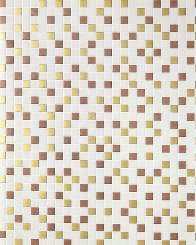 Vinyl mosaic wallpaper tile stone decor wallcovering EDEM 1022-13 embossed texture beige gold copper silver – Bild 1