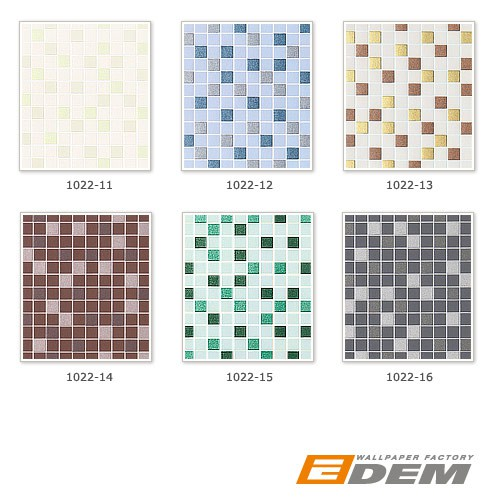 Vinyl mosaic wallpaper tile stone decor wallcovering EDEM 1022-15 embossed texture mint green turquoise emerald silver – Bild 5