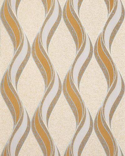 Grafische Tapete EDEM 1025-11 Buntsteinputz geschwungene Linien mit Ornamenten senfgelb beige hellgrau silber – Bild 1
