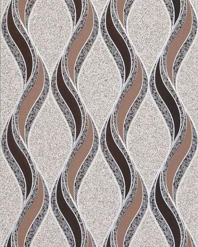 Grafische Tapete EDEM 1025-13 Buntsteinputz geschwungene Linien mit Ornamenten beige kakaobraun dunkelbraun silber – Bild 1