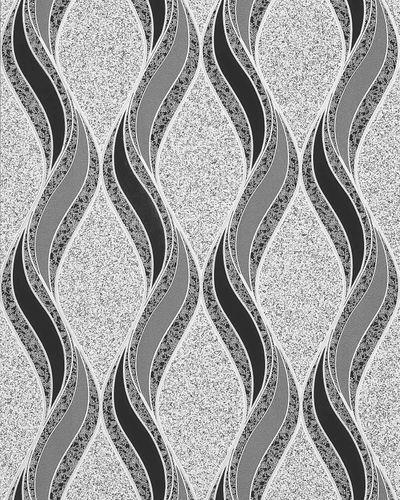 Grafische Tapete EDEM 1025-16 Buntsteinputz geschwungene Linien mit Ornamenten hellgrau schwarz silber – Bild 1