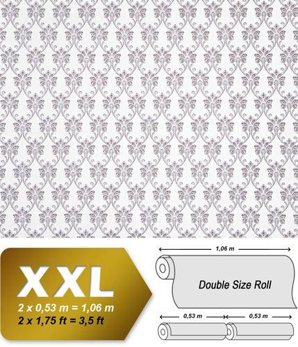 Barock Tapete XXL Vliestapete EDEM 656-96 Elegantes kleinformatiges Barockmuster Textil-Optik weiß grau 10,65 m2 – Bild 1