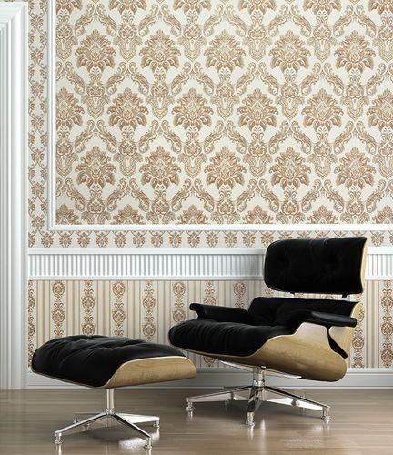 Barock Tapete XXL Vliestapete EDEM 656-96 Elegantes kleinformatiges Barockmuster Textil-Optik weiß grau 10,65 m2 – Bild 3