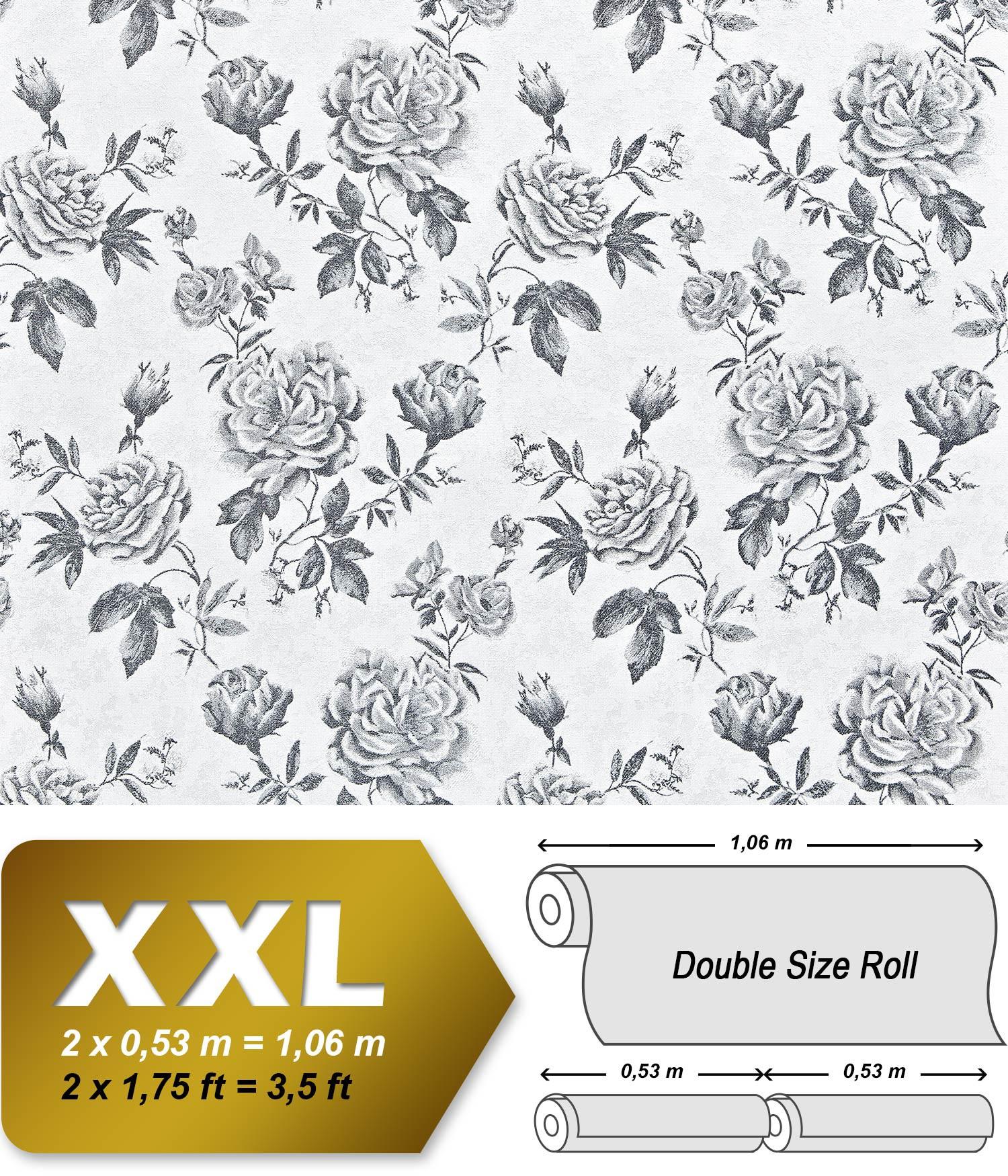Bloemen vlies behang xxl edem 687 96 snelbehang gebloemd patroon rozen en bladeren zwart wit - Wit behang en grijs ...