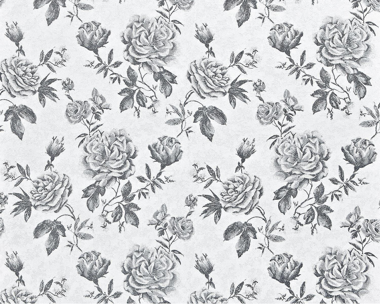 Edem 687 96 Papier Peint Intisse Xxl Fleurs Roses Noir Blanc Gris 10