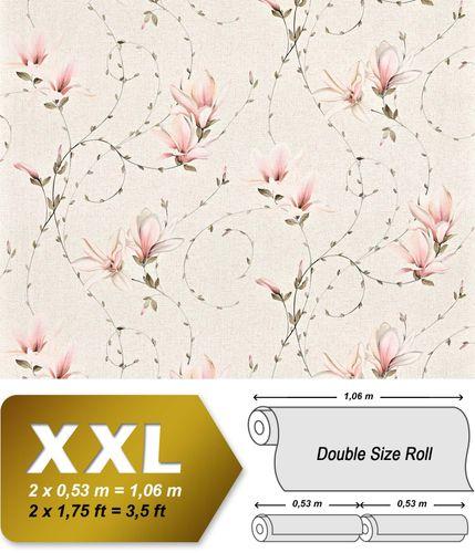Carta da parati TNT stile countryXXL EDEM 902-16 disegno rustico floreale aspetto tessuto crema rosa beige bianco 10,65 m2 – Bild 1