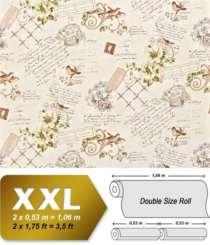 Cottage non woven wallpaper XXL EDEM 904-18 textured paste the wall romantic fabric look flowers birds green brown 10.65 m2 – Bild 1