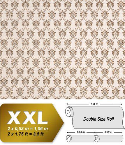 Barock Tapete XXL Vliestapete EDEM 656-93 Elegantes kleinformatiges Barockmuster Textil-Optik creme beige braun 10,65 m2 – Bild 1