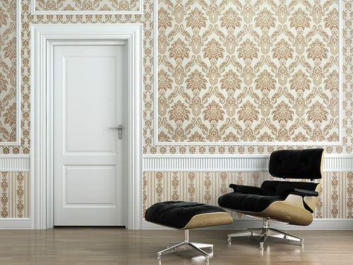 Barock Tapete XXL Vliestapete EDEM 656-93 Elegantes kleinformatiges Barockmuster Textil-Optik creme beige braun 10,65 m2 – Bild 2