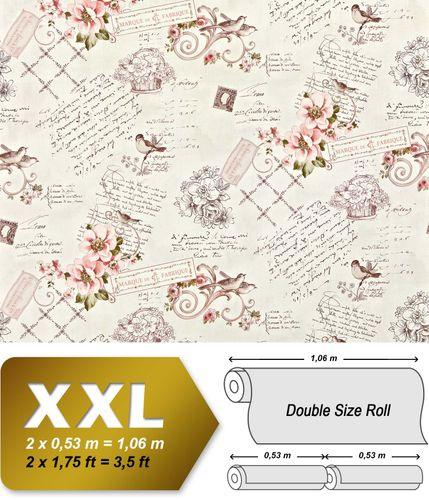 Cottage non woven wallpaper XXL EDEM 904-15 textured paste the wall romantic fabric look flowers birds pink old-rose green brown 10.65 m2 – Bild 1
