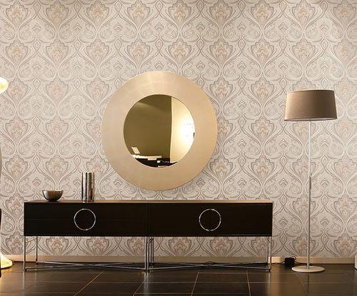 Empapelado barroco XXL no tejido EDEM 993-36 Dibujo elegante damasco marrón beige chocolate crema brillante 10,65 m2