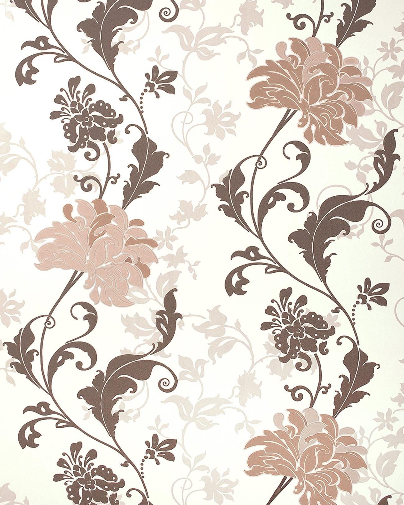 Hervorragend Blumen Tapete EDEM 833 23 Edles Florales Design Blüten Blätter Blumentapete Braun  Beige Hellbraun