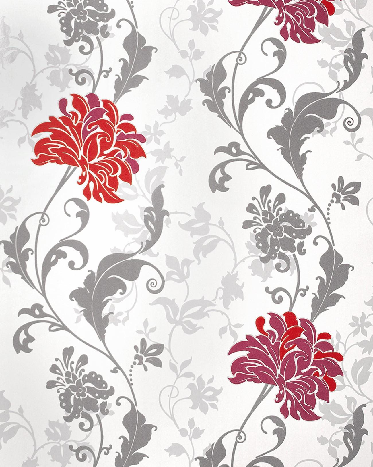 Edem 833 25 Papier Peint Motif Floral Fleurs Feuilles Bordeaux Gris