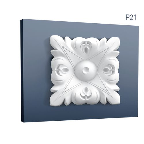 Corner Plate quared Orac Decor P21 LUXXUS Stucco decoration Corner Element element for wall and ceiling Leafs 6 x 6 cm