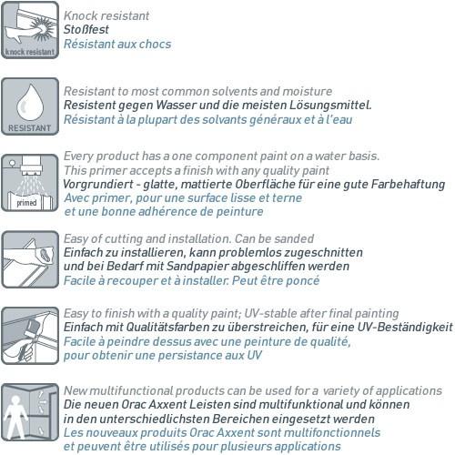 Plinthe Profil de décoration Orac Decor SX125 AXXENT Protection de câble résistant aux choces Moulure | 2 m  – Bild 4