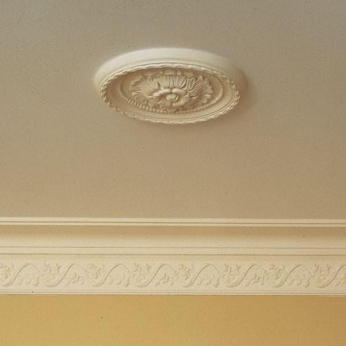 Rosetón Florón Elemento decorativo de estuco Orac Decor R13 LUXXUS para techo Motivo de hojas blanco 28 cm diámetro – Imagen 2