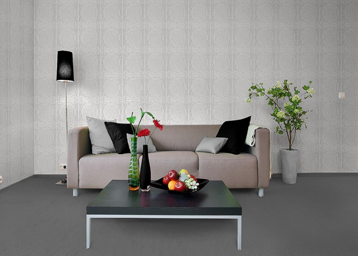 papier peint vinyle mur et plafond edem 101 00 aspect lambris blanc. Black Bedroom Furniture Sets. Home Design Ideas