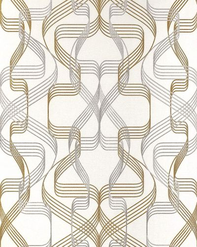 Graphic wallpaper wall covering EDEM 507-20 blown vinyl wallcovering textured abstract and metallic highlights white signal-white pearl-gold silver 5.33 m2 (57 ft2) – Bild 1