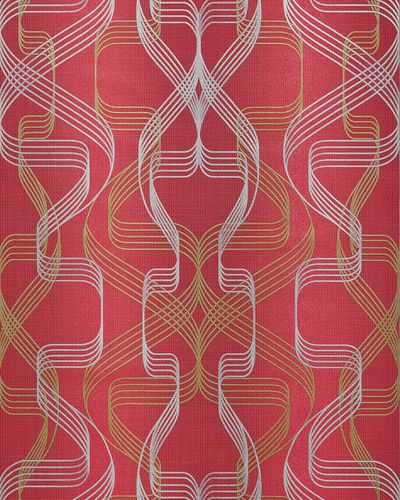 Graphic wallpaper wall covering EDEM 507-24 blown vinyl wallcovering textured abstract and metallic highlights red ruby-red pearl-gold silver 5.33 m2 (57 ft2) – Bild 1