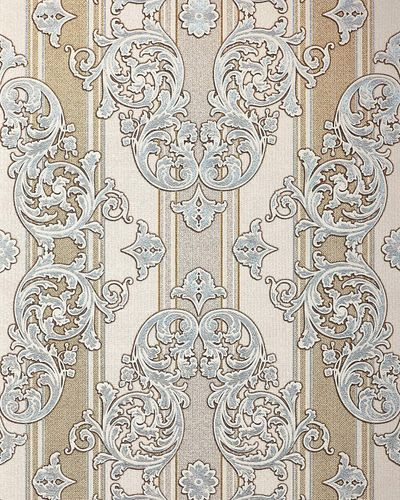 Baroque wallpaper wall covering EDEM 580-30 blown vinyl wallcovering textured fabric look and metallic highlights cream light-ivory pearl-gold silver 5.33 m2 (57 ft2) – Bild 1