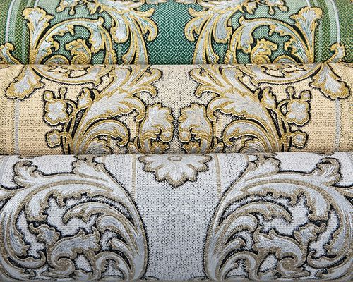 Papier peint baroque EDEM 580-30 texturé aspect textile métalliques crème ivoire-clair or nacré argent 5,33 m2 – Bild 4