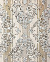 Baroque wallpaper wall covering EDEM 580-30 blown vinyl wallcovering textured fabric look and metallic highlights cream light-ivory pearl-gold silver 5.33 m2 (57 ft2)