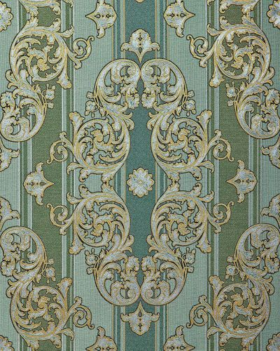 Baroque wallpaper wall covering EDEM 580-35 blown vinyl wallcovering textured fabric look and metallic highlights green pine-green pearl-gold silver 5.33 m2 (57 ft2)