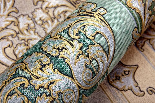 Baroque wallpaper wall covering EDEM 580-35 blown vinyl wallcovering textured fabric look and metallic highlights green pine-green pearl-gold silver 5.33 m2 (57 ft2) – Bild 8