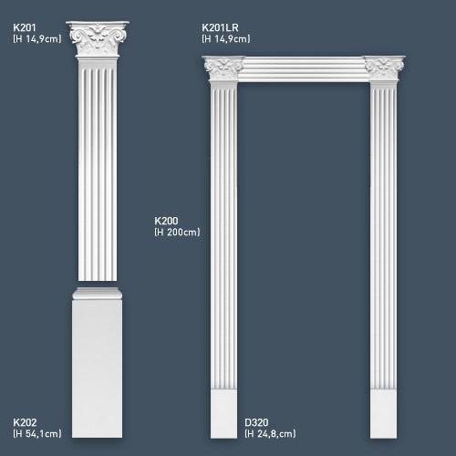 Pilaster Kapitell Set Orac Dekor K201LR LUXXUS Links und Rechts für Pilasterschaft K200 Türumrandung – Bild 2