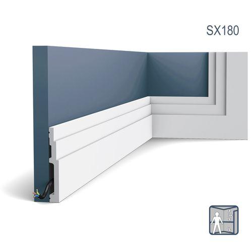Battiscopa Orac Decor SX180 MODERN HIGH LINE modanatura design moderno bianco 2m – Bild 1
