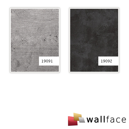 Panel de pared aspecto hormigón WallFace 19092 CEMENT DARK Panel decorativo texturado de aspecto piedra mate autoadhesivo antracita 2,6 m2 – Imagen 3