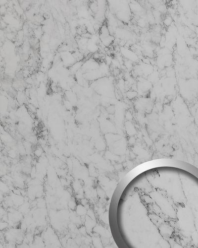 Revestimiento mural aspecto mármol WallFace 19338 MARBLE WHITE Panel decorativo liso de aspecto piedra mate autoadhesivo blanco blanco-grisáceo 2,6 m2 – Imagen 1