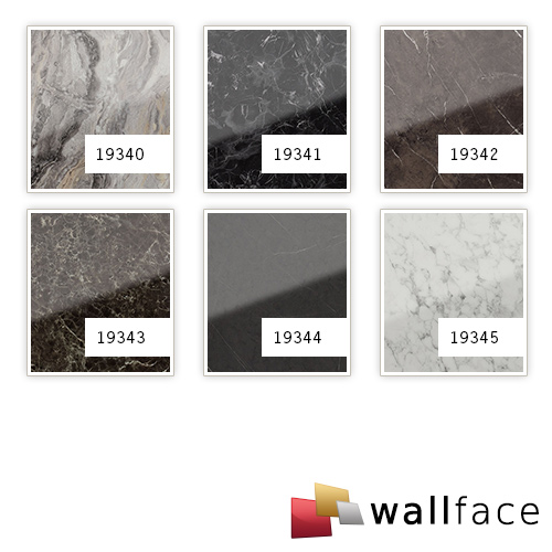 Design Panelling marble look WallFace 19340 MARBLE ALPINE smooth wall panel natural stone look glossy self-sticking grey brown 2,6 m2 – Bild 3