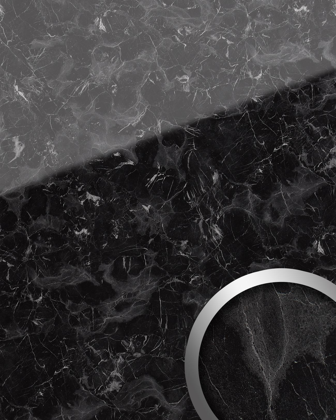 Wallface 19341 marble black wandverkleidung in marmor - Wandfarbe marmoroptik ...