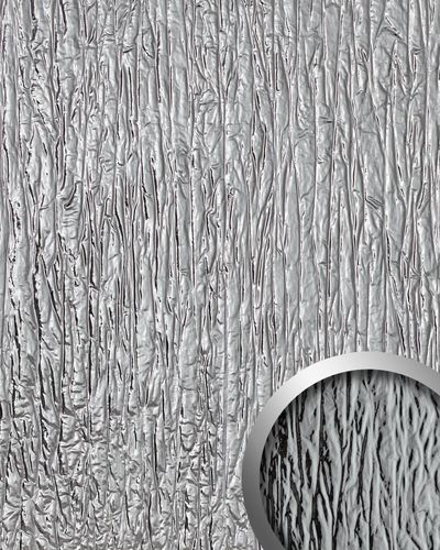Decor Panel used look WallFace 19346 CRASHED MIRROR embossed design panelling metal look glossy self-sticking silver 2,6 m2 – Bild 1