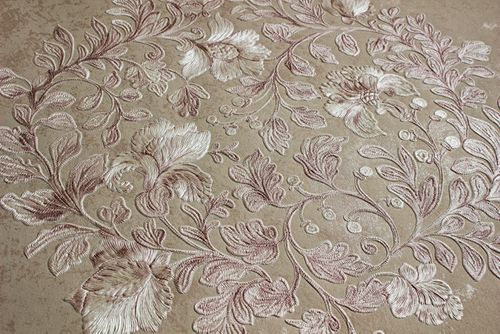 Flowers wallcovering wall Atlas ATT-5081-3 non-woven wallcovering embossed with floral ornaments shiny cream cream rose 7.035 m2 (75 ft2) – Bild 3
