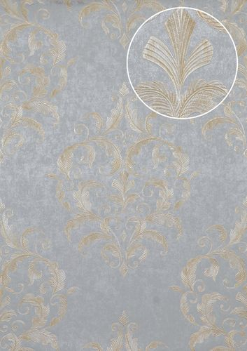 Baroque wallcovering wall Atlas ATT-5082-2 non-woven wallcovering embossed with floral ornaments shiny silver gold cream 7.035 m2 (75 ft2) – Bild 1