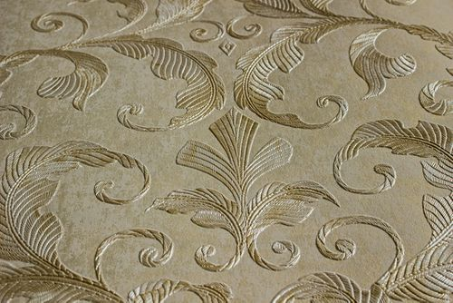 Baroque wallcovering wall Atlas ATT-5082-4 non-woven wallcovering embossed with floral ornaments shiny ivory beige white 7.035 m2 (75 ft2) – Bild 2