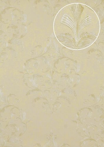 Baroque wallcovering wall Atlas ATT-5082-4 non-woven wallcovering embossed with floral ornaments shiny ivory beige white 7.035 m2 (75 ft2) – Bild 1