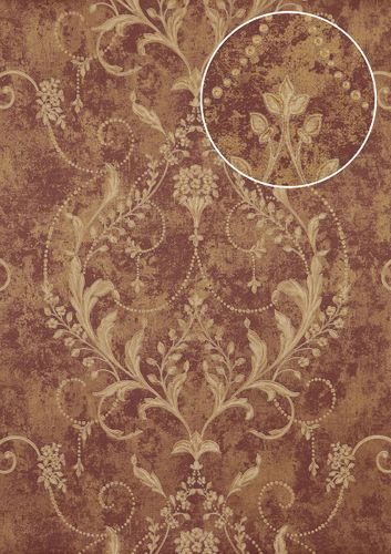 Baroque wallcovering wall Atlas ATT-5084-3 non-woven wallcovering embossed with floral ornaments shiny red violet bronze cream 7.035 m2 (75 ft2) – Bild 1